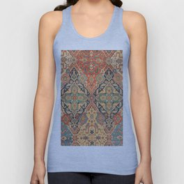 Geometric Leaves VIII // 18th Century Distressed Red Blue Green Colorful Ornate Accent Rug Pattern Unisex Tank Top