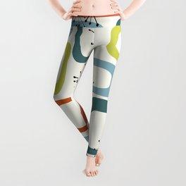 Mid Century Modern Shapes 1950s colors  Leggings