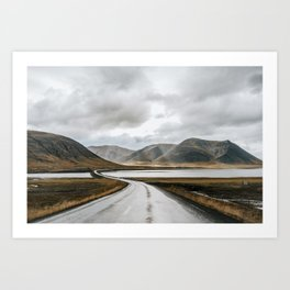 Iceland road trip with magical clouds and dramatic light Art Print