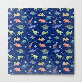 Dinosaur Playground Pattern Metal Print