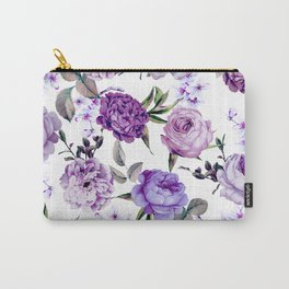 Elegant Girly Violet Lilac Purple Flowers Carry-All Pouch