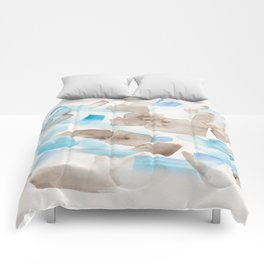 180714 Abstract Waterolour Blue Brown 21| Watercolor Brush Strokes Comforters