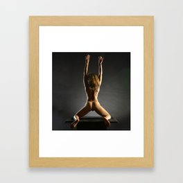 5314s-NLJ Beautiful Black Woman Kneeling Nude Strong Back Arms Up Rear View Behind Framed Art Print