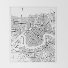 New Orleans Map White Throw Blanket