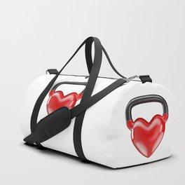 Kettlebell heart vinyl / 3D render of heavy heart shaped kettlebell Duffle Bag