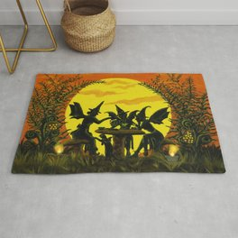"Halloween witches floor mat ""Reading the tea leaves..."" Rug"
