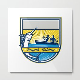 Kayak Fishing Blue Marlin Badge Metal Print