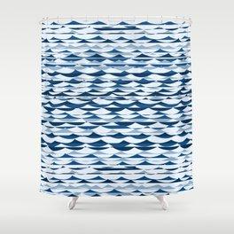 Glitch Waves - Classic Blue Shower Curtain