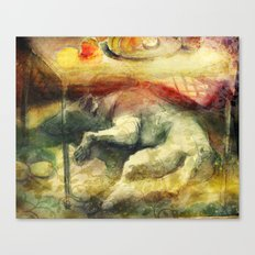 Dog under a table with fruits and flowers. Canvas Print