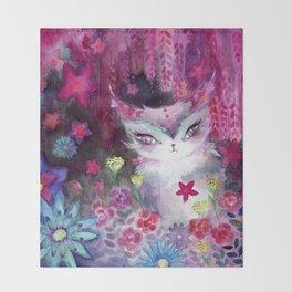Gala Cat Tending the Garden Throw Blanket