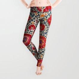 Kermina Suzani Uzbekistan Embroidery Print Leggings