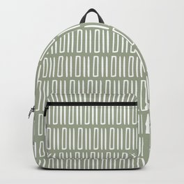 Festive, Geometric art, Mudcloth, Pattern, Sage Green, Boho Print Backpack
