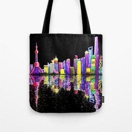 Shanghai Bund Skyline digital Tote Bag
