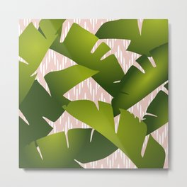 Banana Palm Leaves Green, Coral Pink Chevron Stripes Metal Print