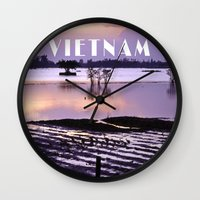 vietnam Wall Clocks featuring MEKONGDELTA - VIETNAM  by CAPTAINSILVA