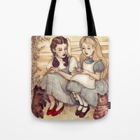dorothy Tote Bags featuring Dorothy and Alice by Helen Green
