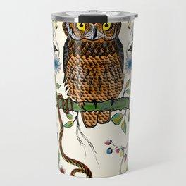 Vibrant Jungle Owl and Snake Travel Mug