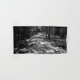 River in the Forest Black and White Hand & Bath Towel