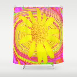 Yellow Sunflower on a Fuchsia Psychedelic Swirl Shower Curtain