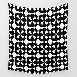 black and white symetric patterns 3- Wall Tapestry