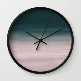 Touching Teal Blush Watercolor Abstract #1 #painting #decor #art #society6 Wall Clock