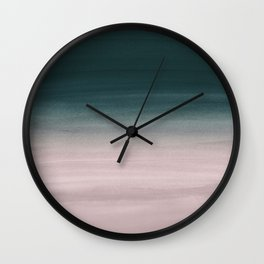 Touching Teal Blush Watercolor Abstract #1 #painting #decor #art #society6 Wall Clock