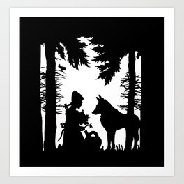 Black Silhouette Red Riding Hood Wolf in Woods Trees Art Print