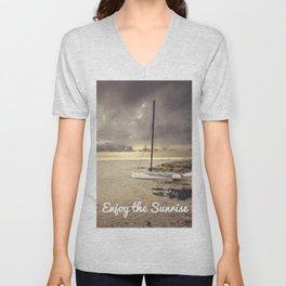 Dramatic sunrise on the beach Unisex V-Neck