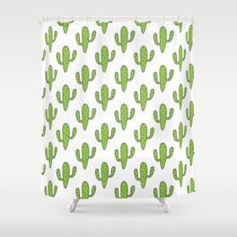 Hand painted green black white floral cactus Shower Curtain
