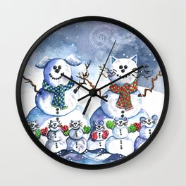 It's Snowing Cats and Dogs (and Mice too) Wall Clock