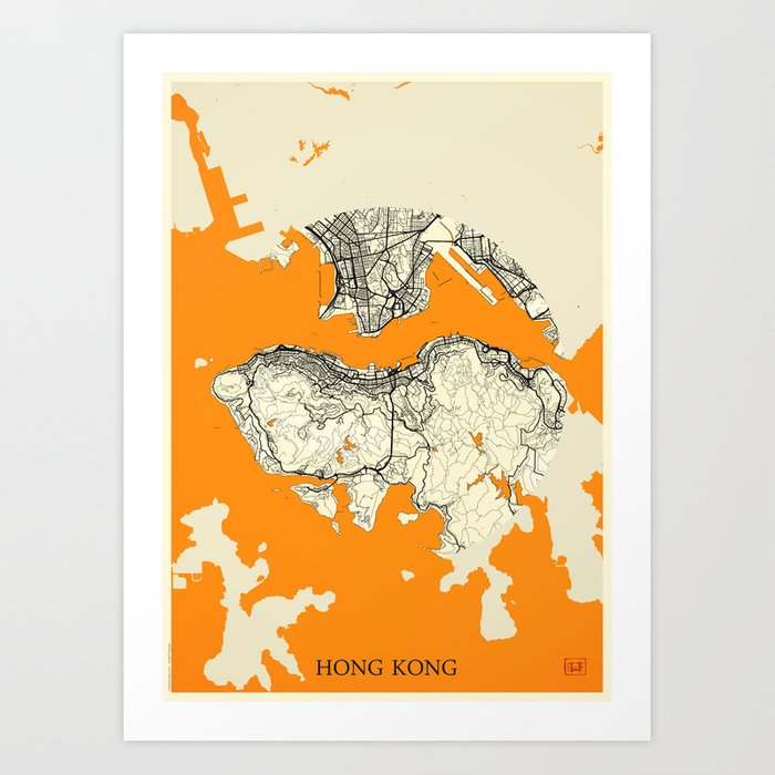 Hong Kong Map Moon Kunstdrucke