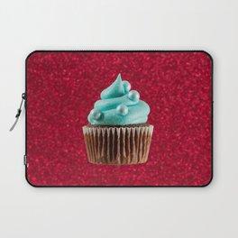 Cupcake Love | Aqua Swirl on Red Sparkle Laptop Sleeve