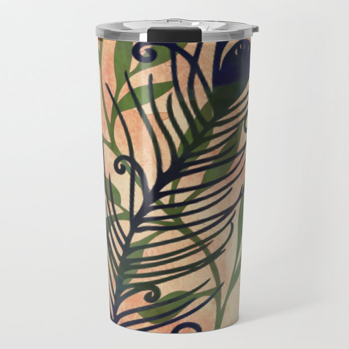 Watercolor Feather And Flora Travel Mug