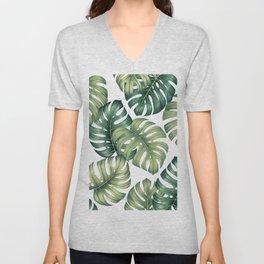 Monstera botanical leaves illustration pattern on white Unisex V-Neck
