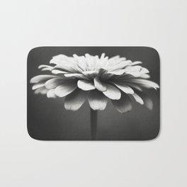 Black and White Flower Photography, Zinnia Floral Photograph, Neutral Nature Photo, Modern Botanical Bath Mat