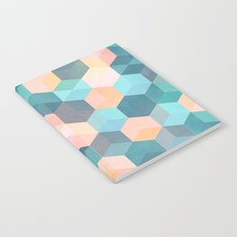 Child's Play 2 - hexagon pattern in soft blue, pink, peach & aqua Notebook