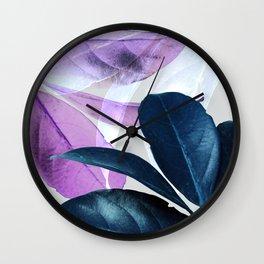 Blue Violet Leaves Wall Clock