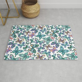 Watercolor Fruit Patterned Butterflies - Forest Green, Orange, Purple - custom request Rug
