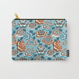 Mid Century Modern Retro Flower Pattern // Caribbean Blue, Ocean Blue, Potter's Clay, White  Carry-All Pouch