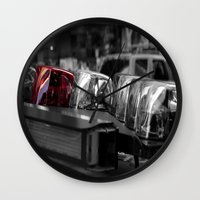 police Wall Clocks featuring Police by Michael Andersen