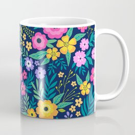 23 Amazing floral pattern with bright colorful flowers. Dark blue background. Coffee Mug
