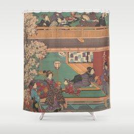Japanes Print Early Evening in Yoshiwara Inn Shower Curtain