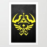hyrule Art Prints featuring Hyrule Shield  by WaXaVeJu