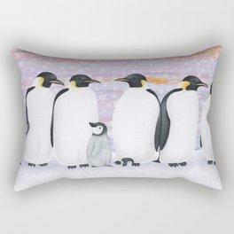 emperor penguins and chicks winter sunset Rectangular Pillow