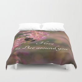 Nature bee on pink flowers Duvet Cover