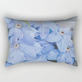 Blue Clematis Flowers on Knotted Fence Post Rectangular Pillow