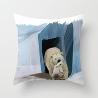 bears Throw Pillows featuring Bears by Elena Napoli
