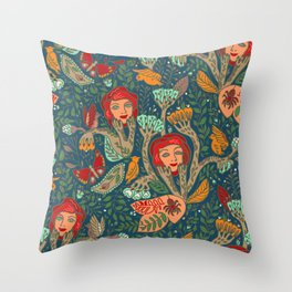 Strange garden of faces Throw Pillow