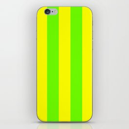 Bright Neon Green and Yellow Vertical Cabana Tent Stripes iPhone Skin