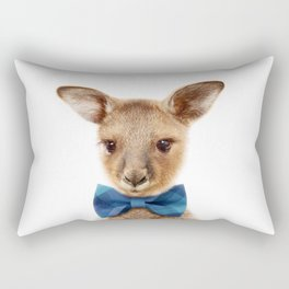 Baby Kangaroo With Bow Tie, Baby Animals Art Print By Synplus Rectangular Pillow